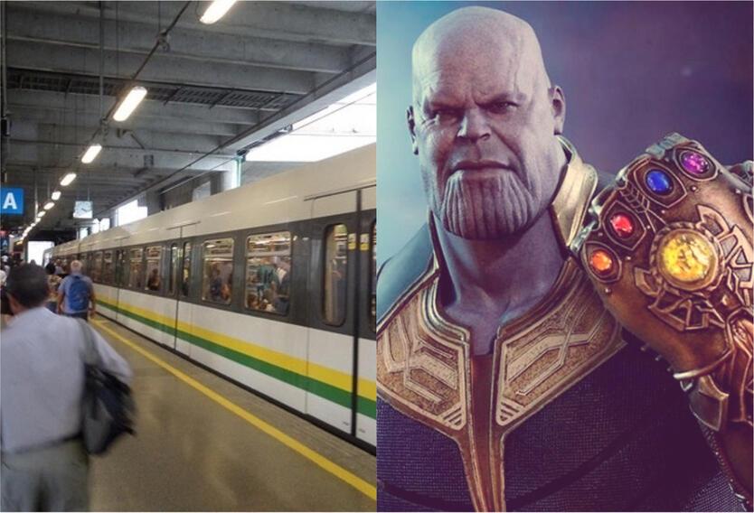 Metro de Medellin y Thanos con el guantelete del infinito