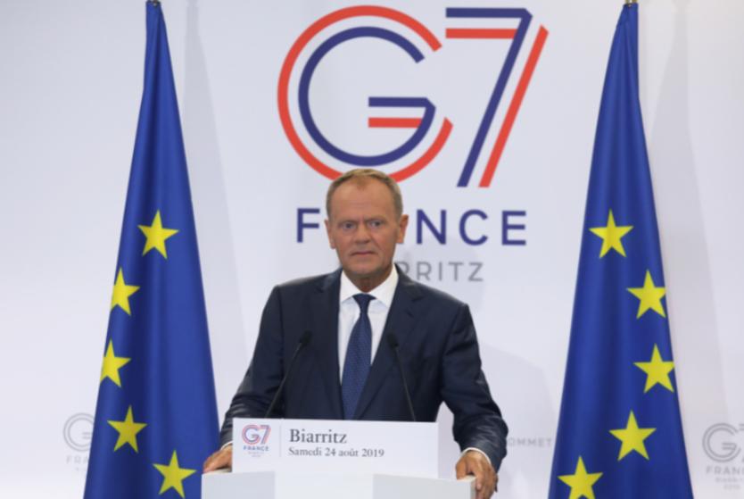 Donald Tusk, presidente del Consejo Europeo, en la Cumbre del G7