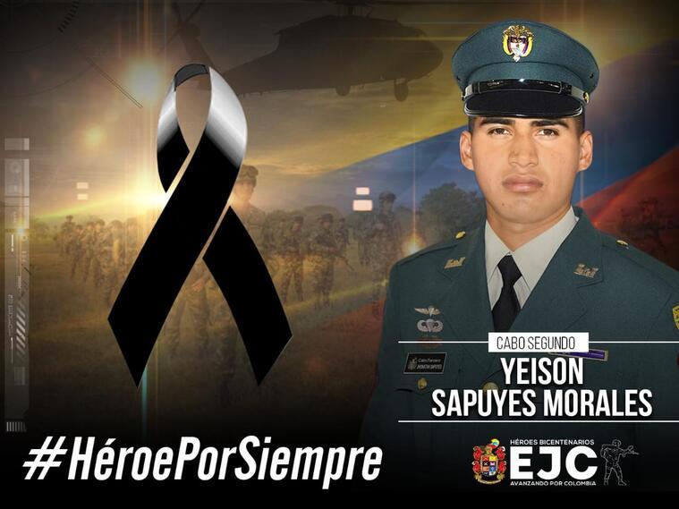 Cabo segundo Yeison Sapuyes Morales. Falleció tras ataque del ELN