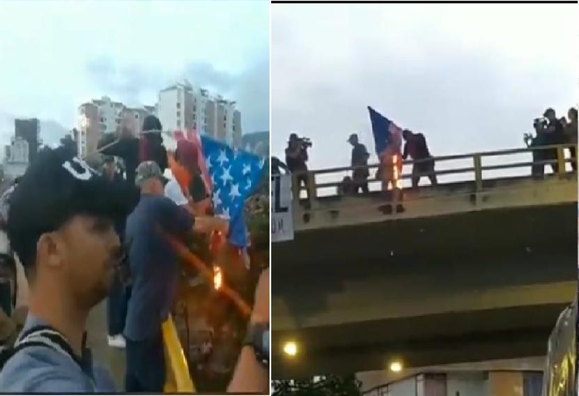 Queman bandera de Estados Unidos en protestas
