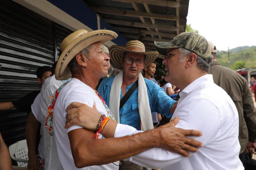 Presidente Iván Duque en el corregimiento El Guáimaro en Tarazá, Bajo Cauca