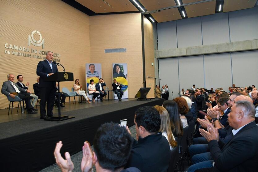 El presidente Iván Duque en encuentro de empresarios en Medellín