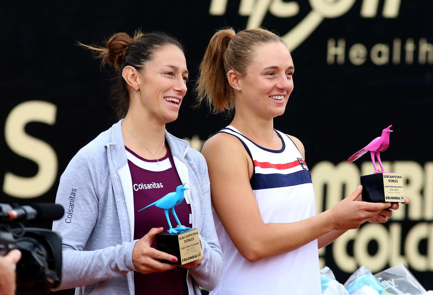Mariana Duque y Nadia Podoroska, subcampeonas en parejas.