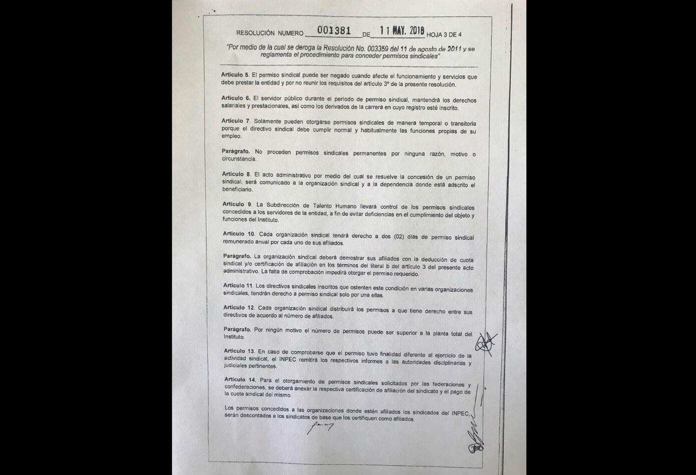 Carta del Inpec sobre permisos sindicales