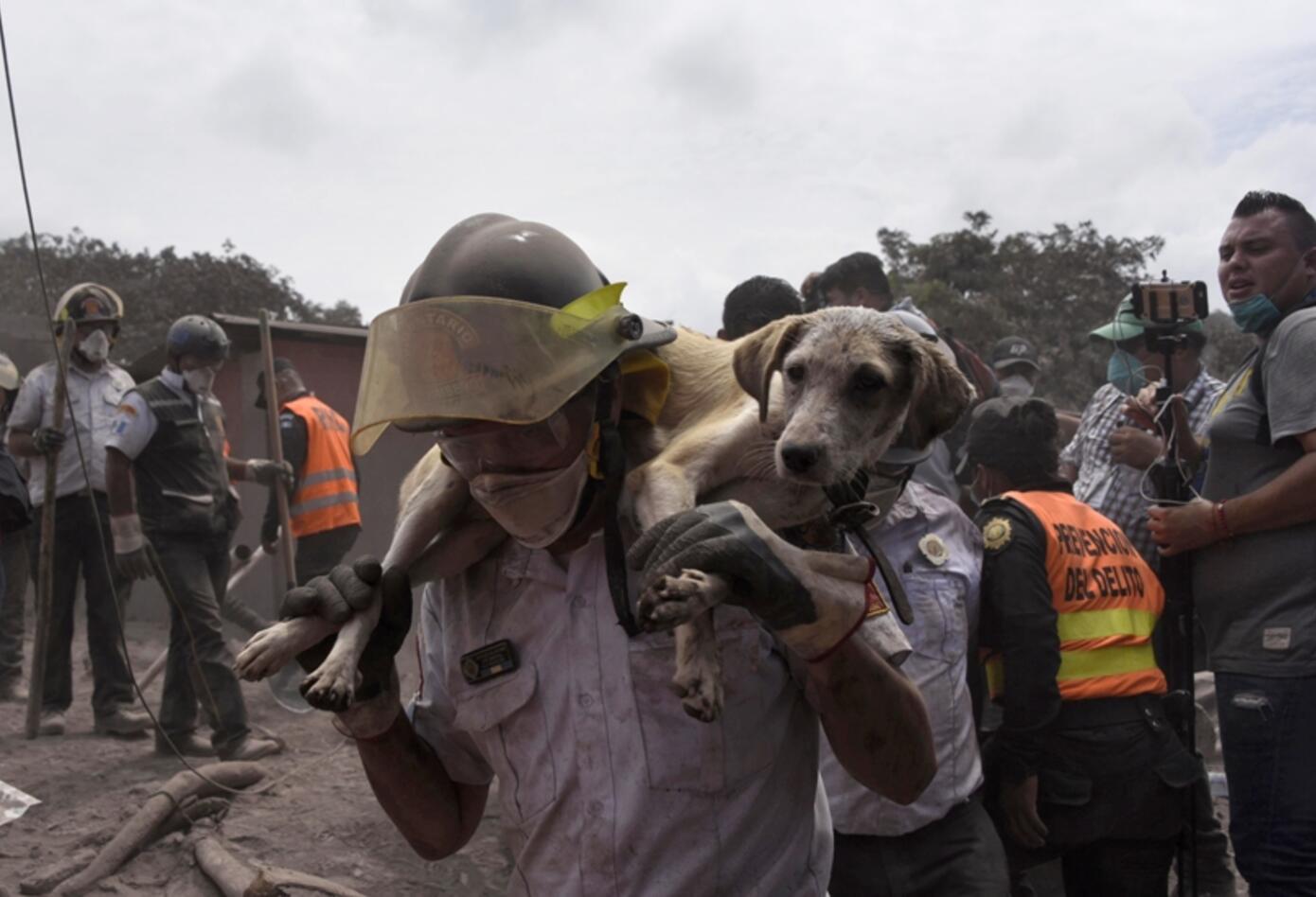 Tareas rescate Volcán Fuego Guatemala.