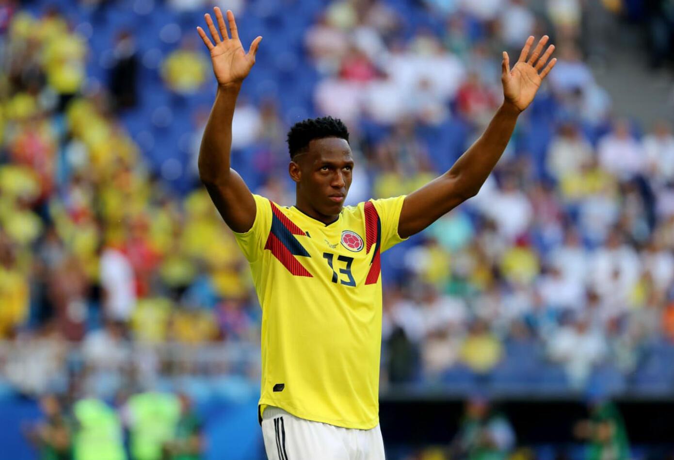 Yerry Mina en partido Colombia vs Senegal
