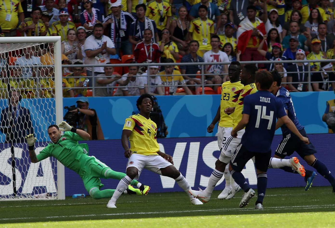 Colombia juega contra a japón (primer tiempo empate)