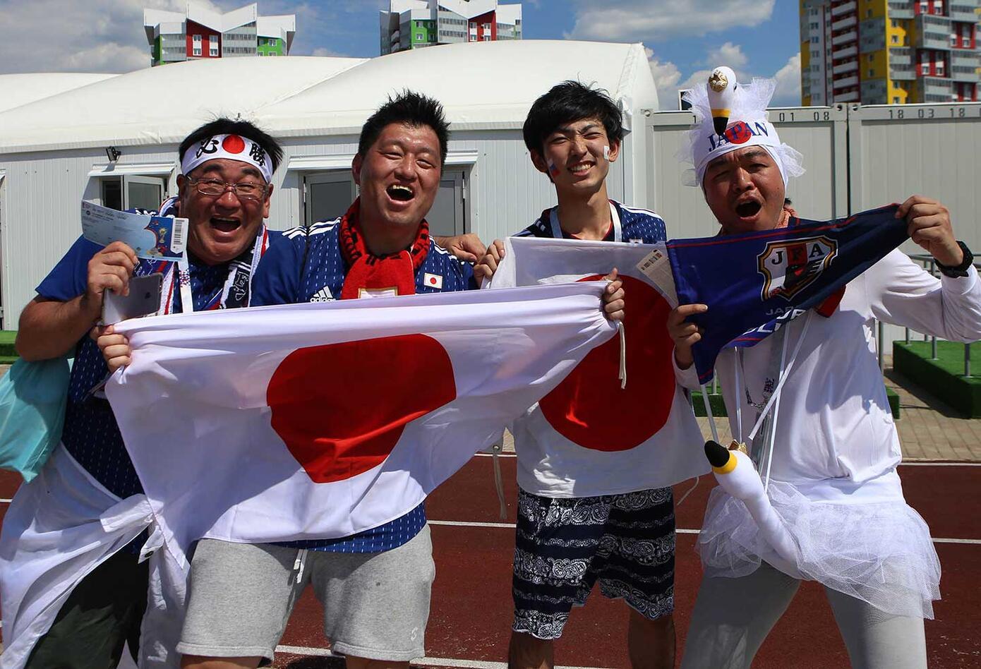 Hinchas japoneses en Saranks