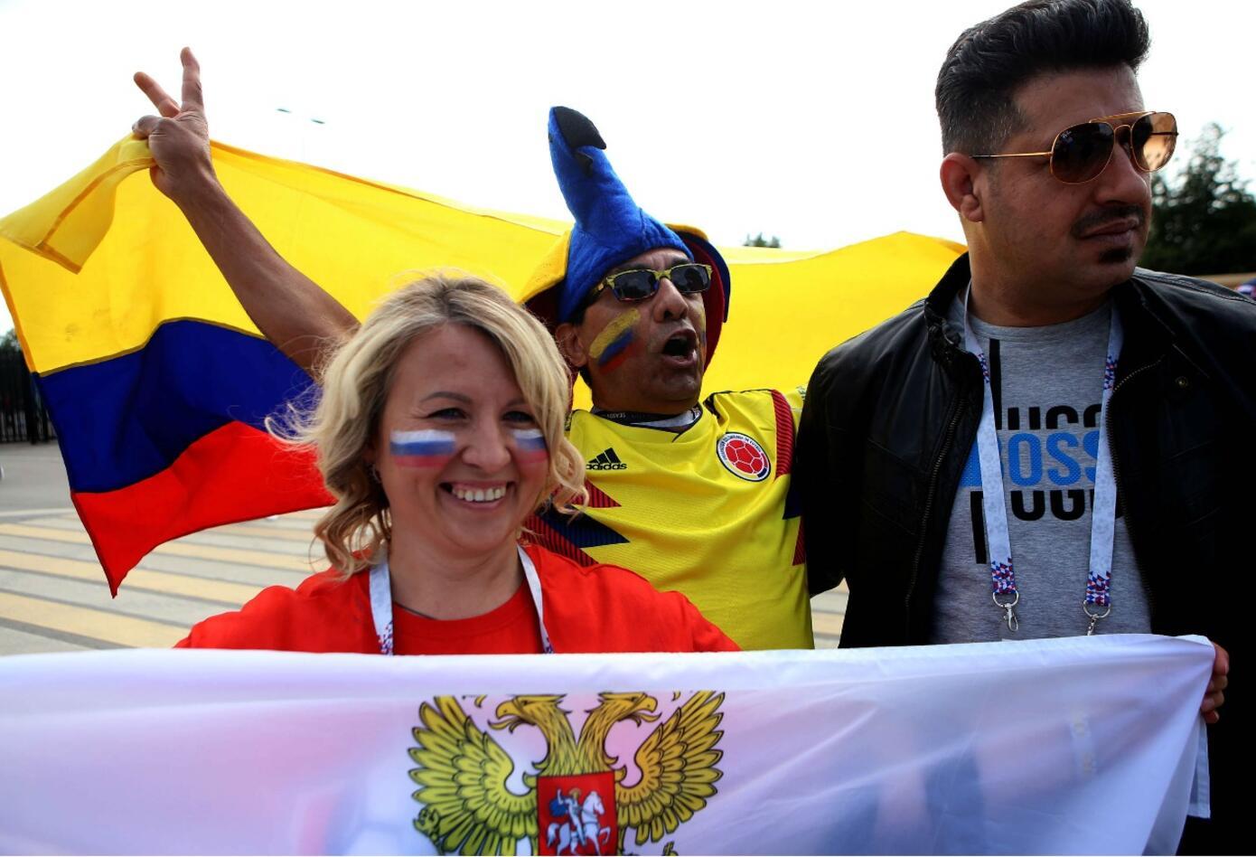 Colombianos en el estadio Luzhniki