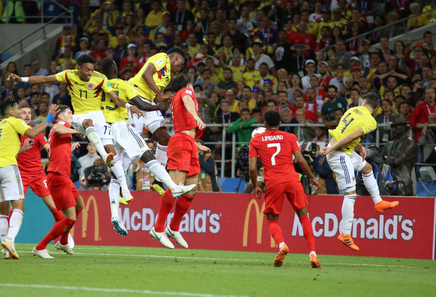 Gol Yerry Mina Colombia Inglaterra Rusia 2018 2