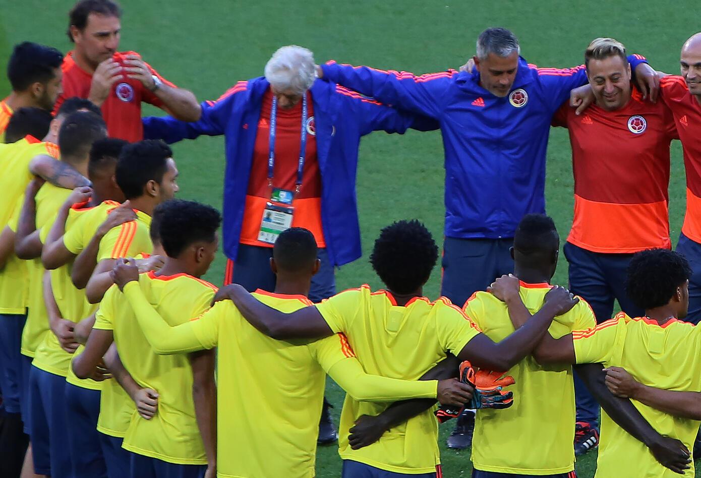 La Selección Colombia reunida antes del partido ante Inglaterra