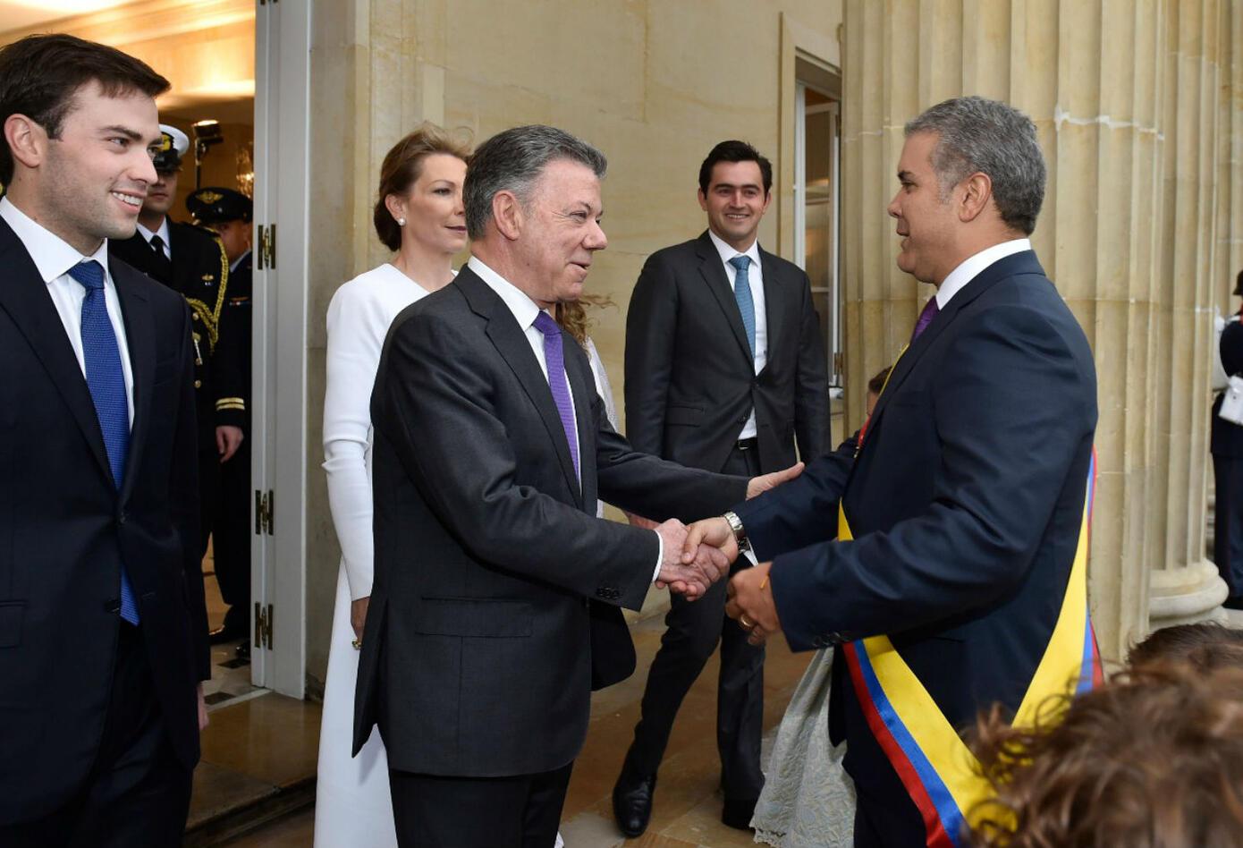 Santos en posesión de Iván Duque