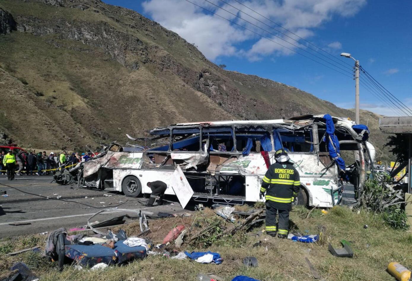 La zona del accidente de bus en Ecuador