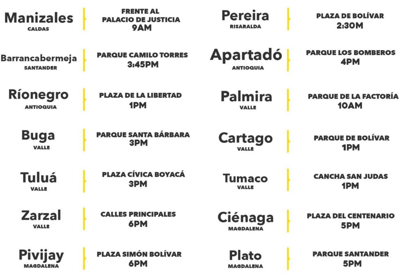 Estas son las ciudades y horarios donde se realizará la manifestación