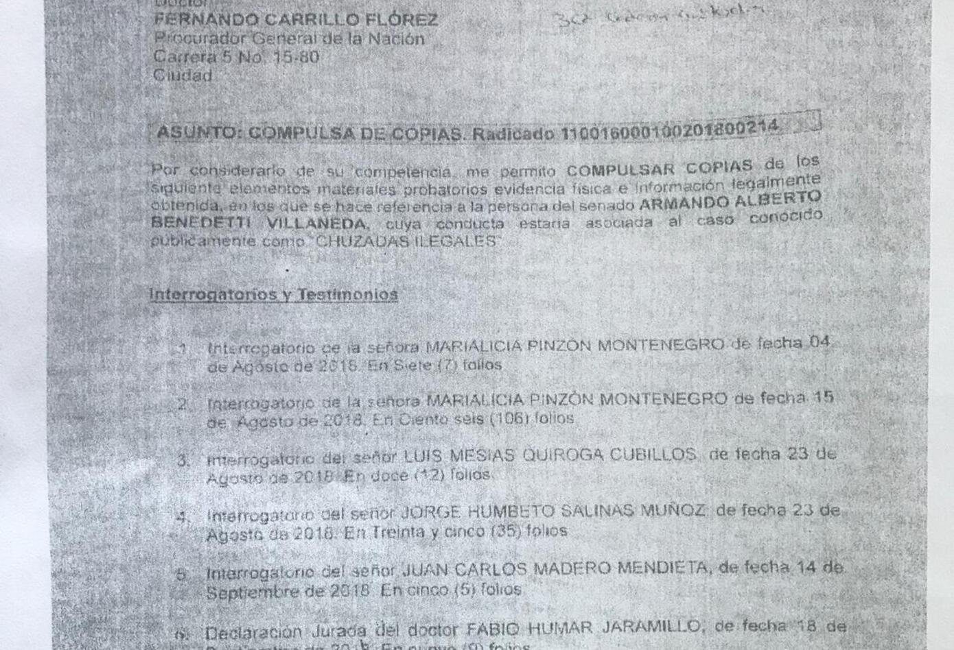 COMPULSA DE COPIAS CONTRA BENEDETTI