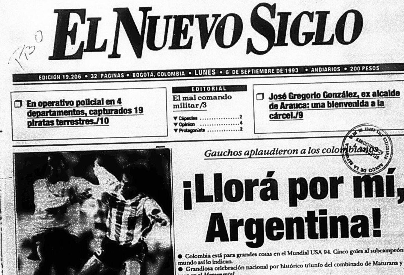 Portada del diario El Nuevo Siglo el 6 de septiembre de 1993