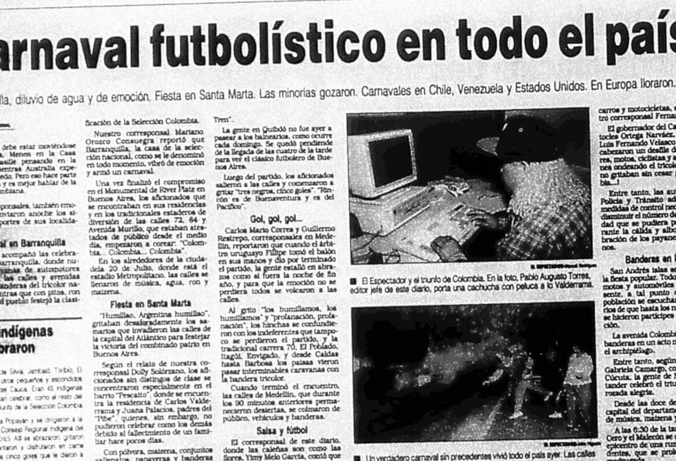 El diario El Espectador y las reacciones por el triunfo de Colombia ante Argentina 5-0
