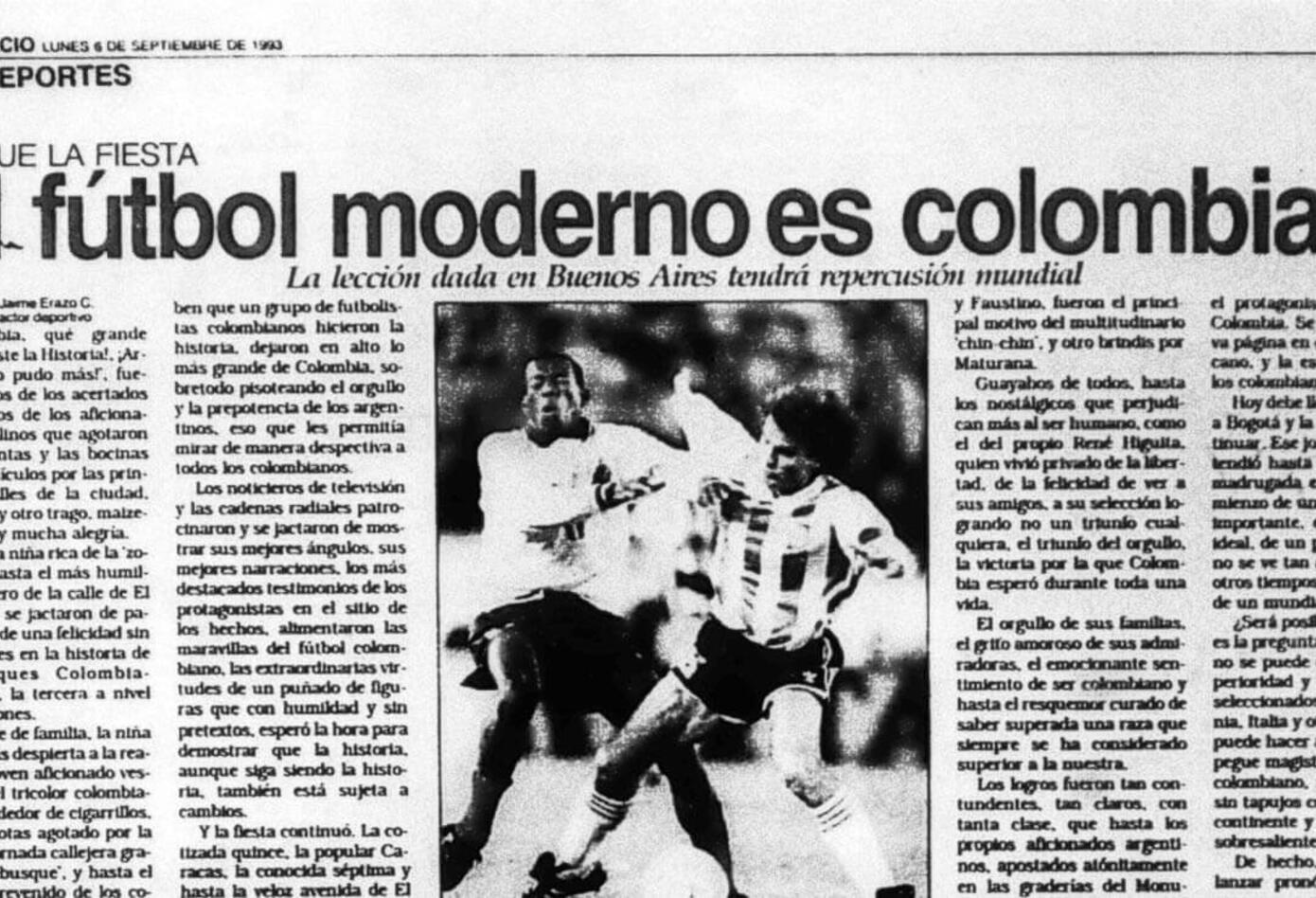 El diario El Espacio y las reacciones por el triunfo de Colombia ante Argentina 5-0
