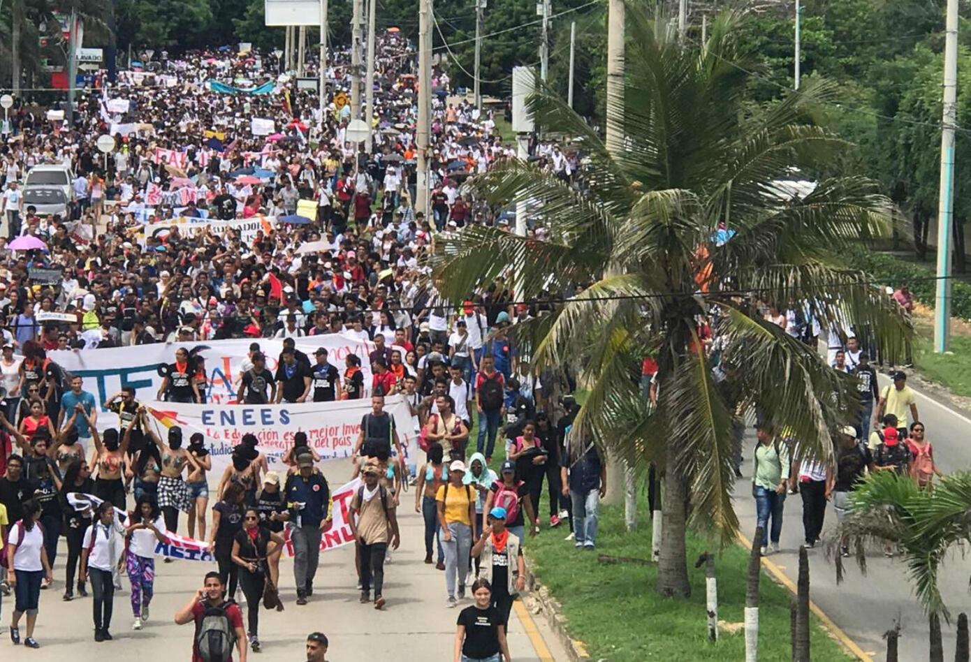 Marcha de estudiantes en Barranquilla
