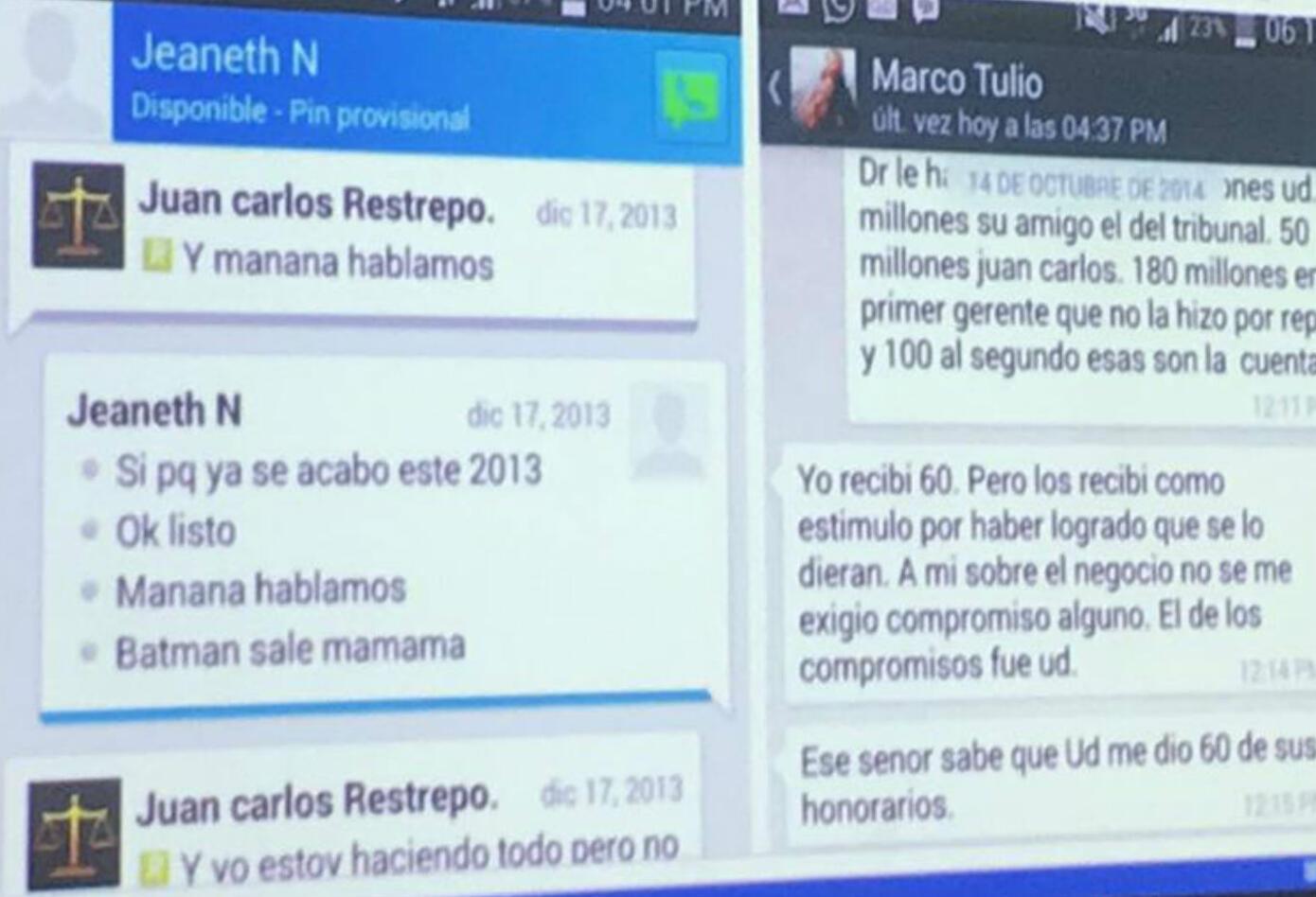 Chats de celular del magistrado Eduardo Castellanos Rosso