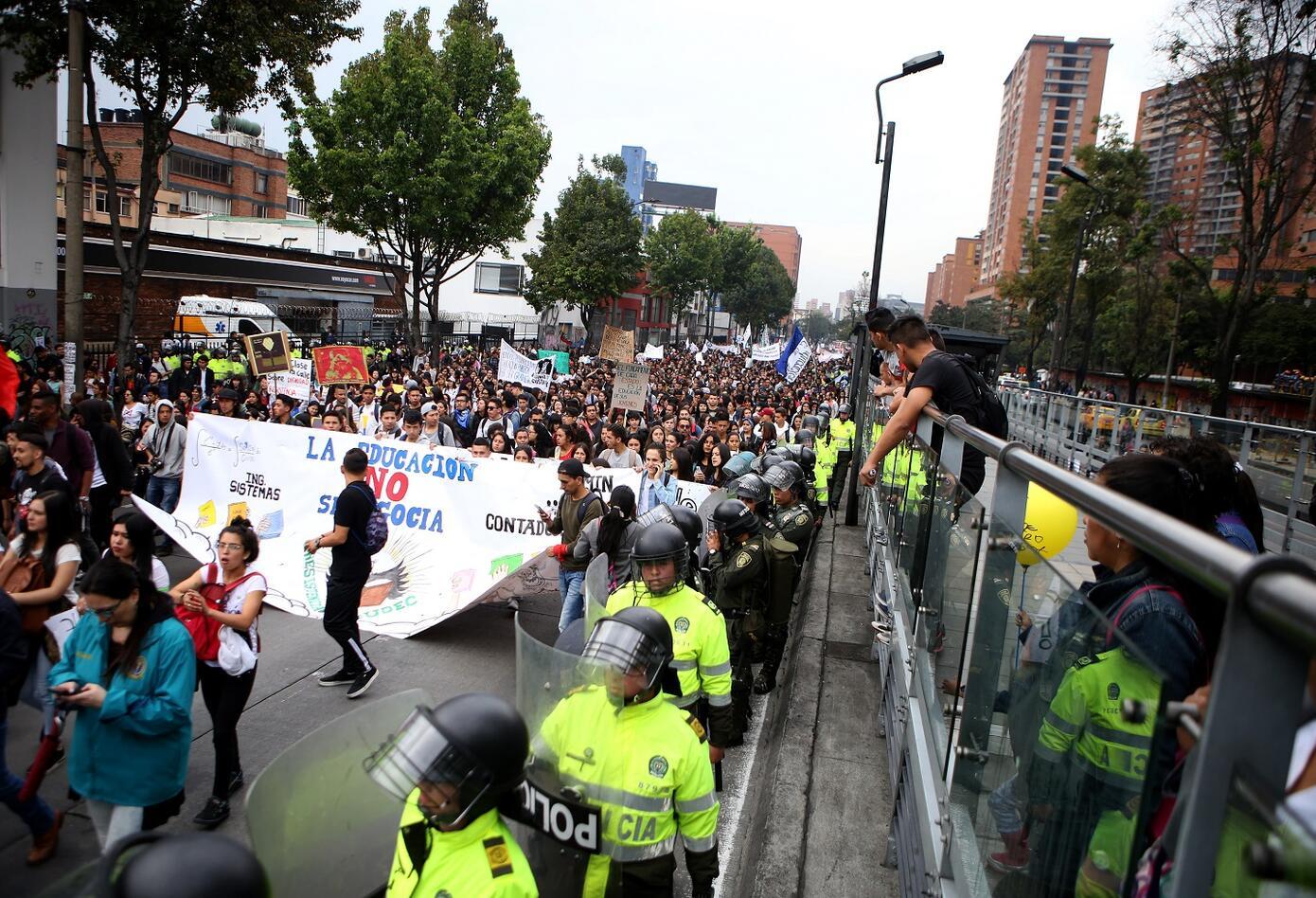 Algunas estaciones de Transmilenio a la altura de la Avenida Caracas se vieron afectadas por las marchas.