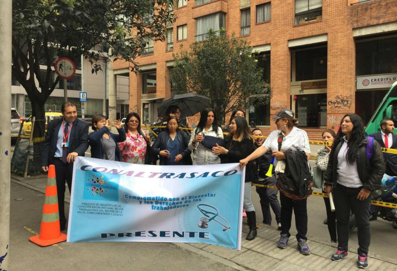 Los representantes del Sindicato Nacional de Salud convocaronuna manifestación por algunas calles de la Bogotá