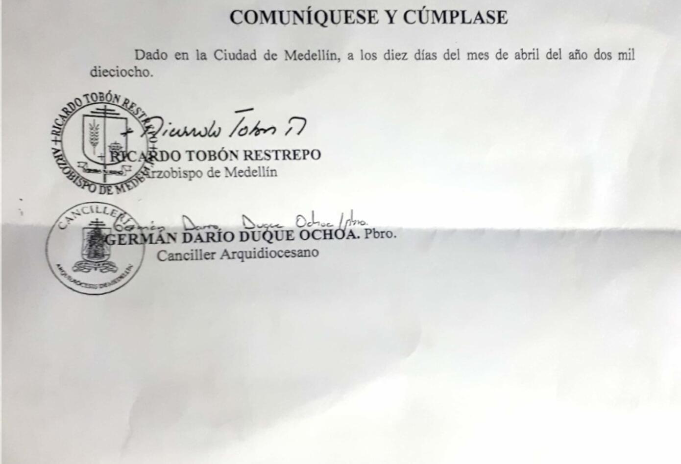 Decreto de la Arquidiócesis de Medellín.