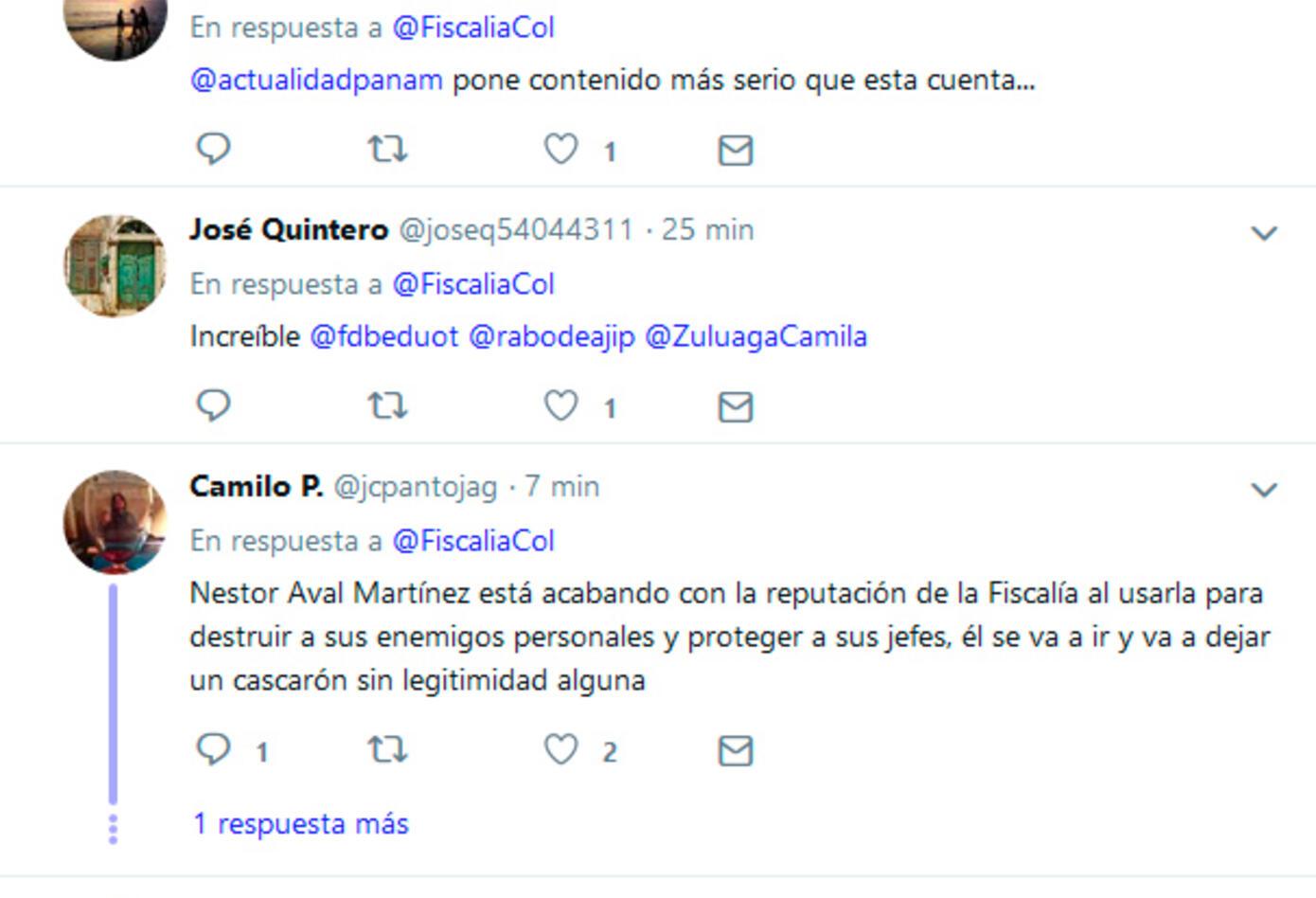 Las reacciones en Twitter al trino de la Fiscalía
