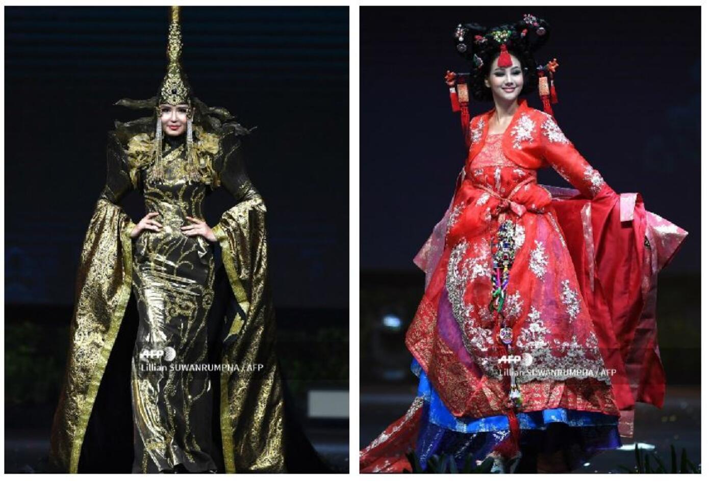 Trajes típicos de Miss Mongolia y Miss Corea