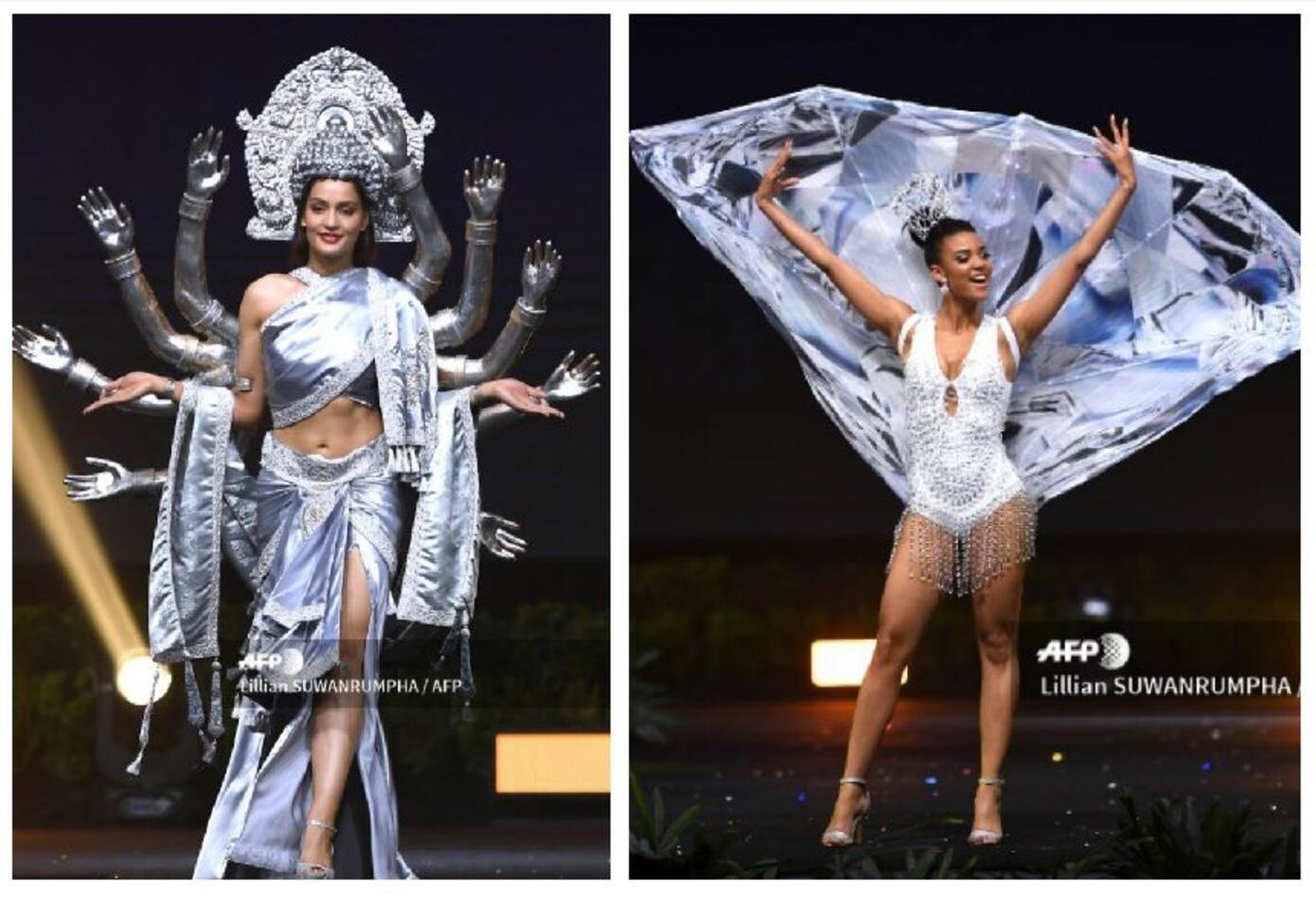Trajes típicos de Miss Nepal y Miss Namibia