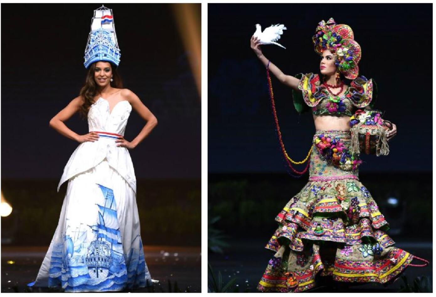 Trajes típicos de Miss Países Bajos y Miss Nicaragua