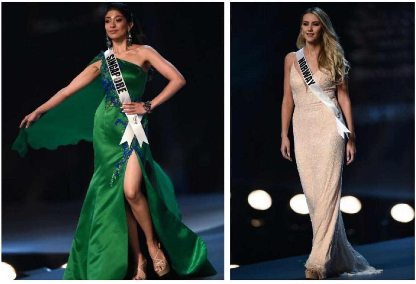 Miss Singapur y Miss Noruega en Miss Universo 2018.