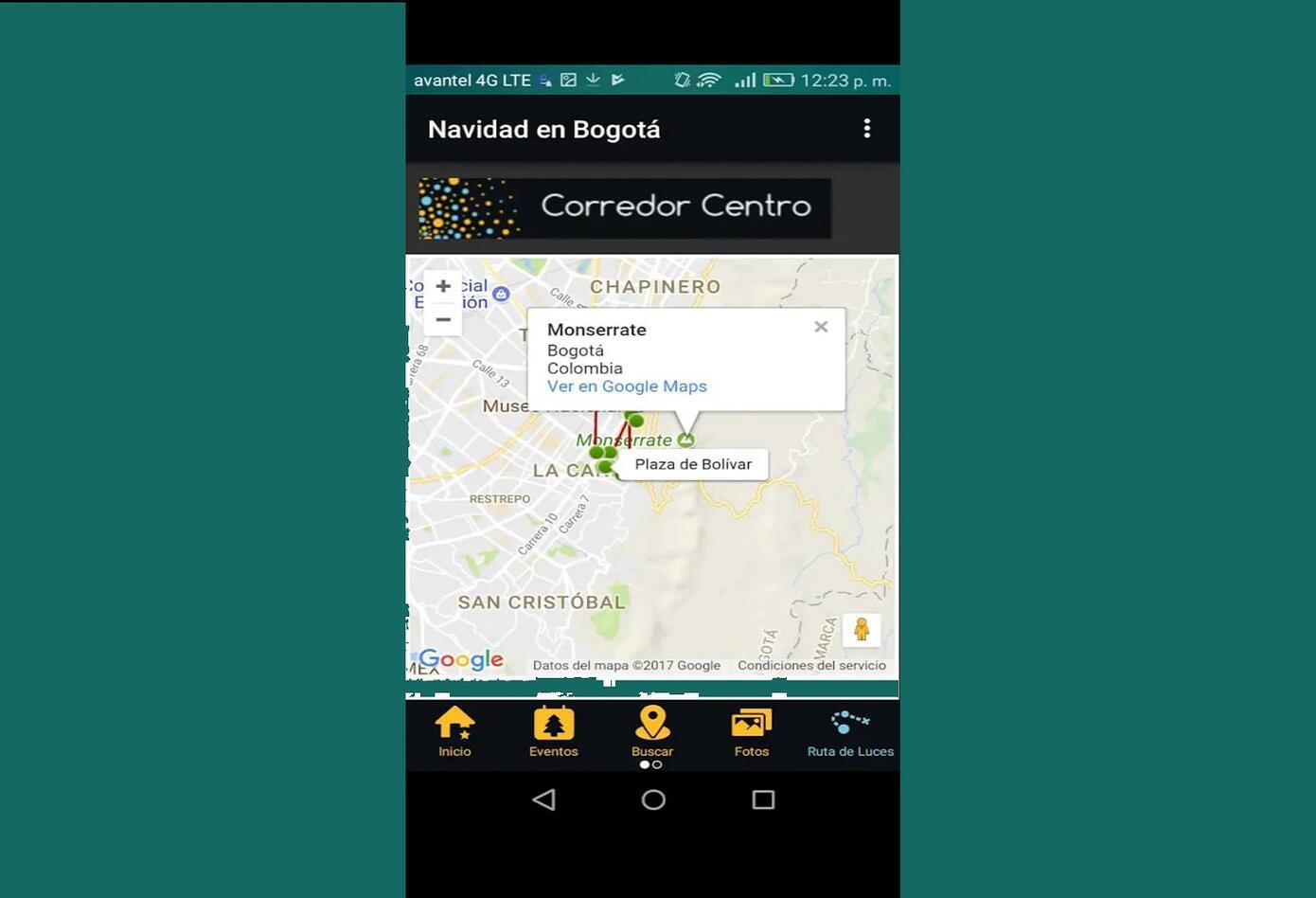 Así se ve la app del distrito para Navidad
