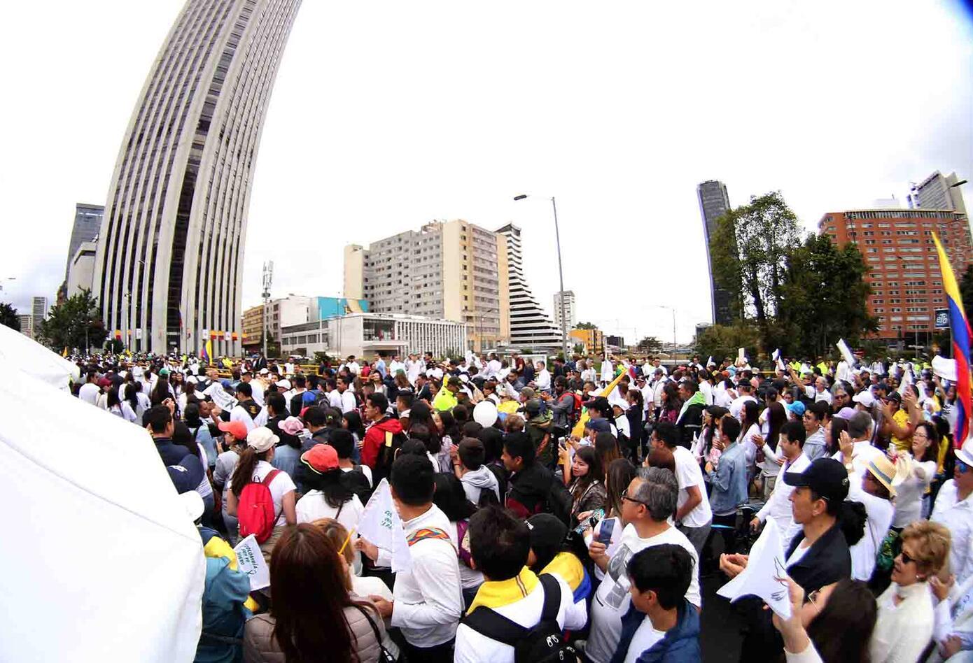 Así se veía uno de los puntos claves de Bogotá en medio de la marcha contra el terrorismo.
