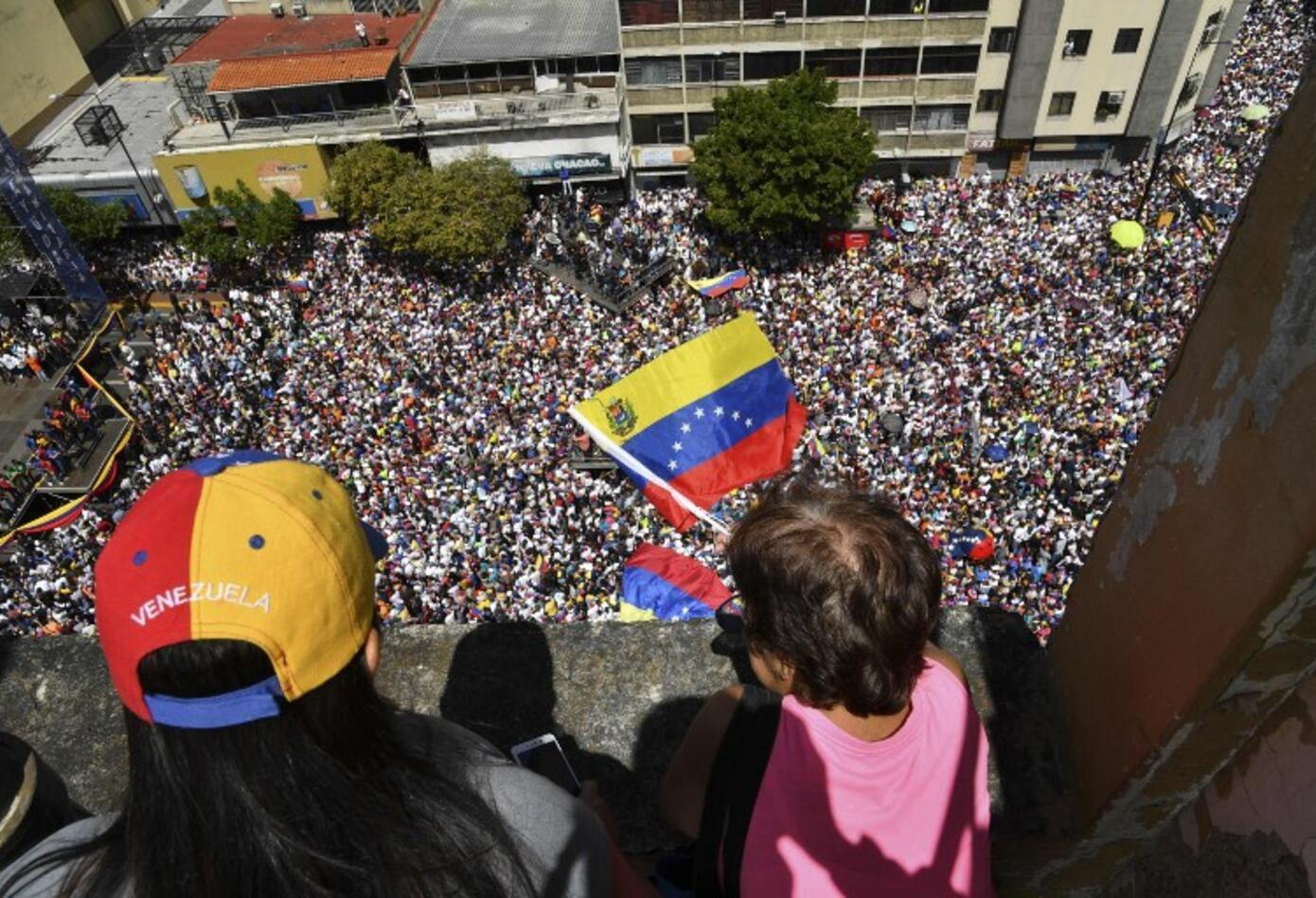 Multitudinaria marcha en Caracas, el 12 de febrero de 2019