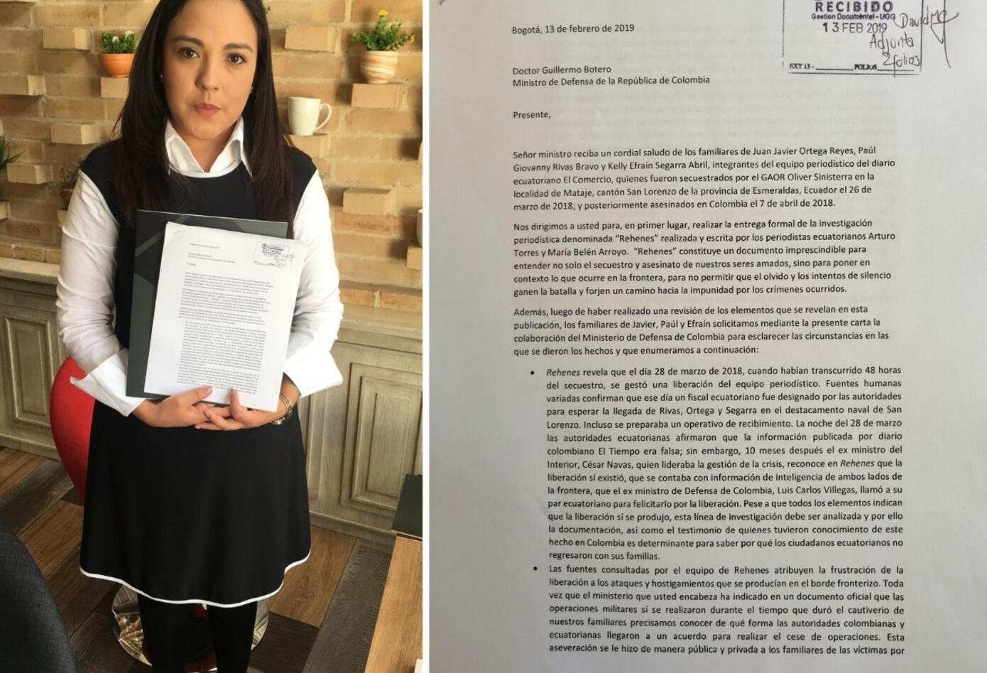 Yadira Aguagallo, quien fuera novia de Paul Rivas, asesinado por disidencias de las Farc