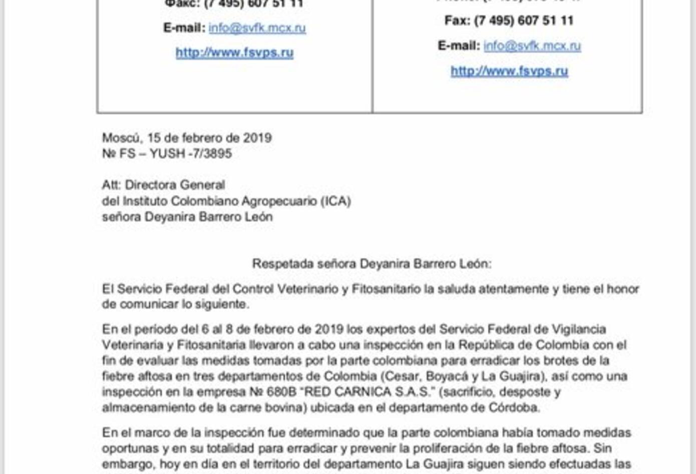 Comunicado de Rusia sobre carne colombiana 1