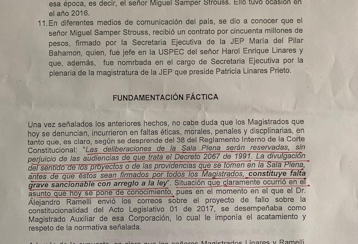 Denuncia contra magistrado de la JEP