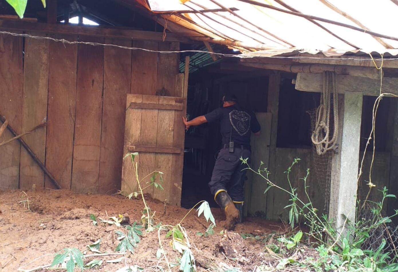 Así quedaron algunas de las viviendas afectadas en Otanche (Boyacá), por los deslizamientos de tierra.