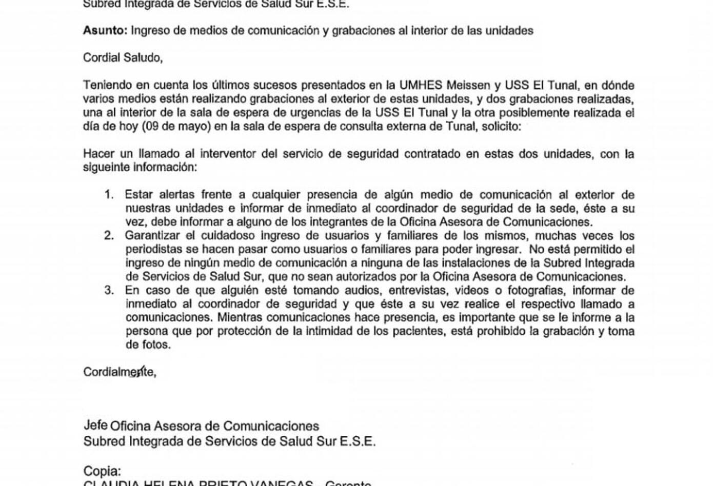 Documento de la Secretaría de Salud
