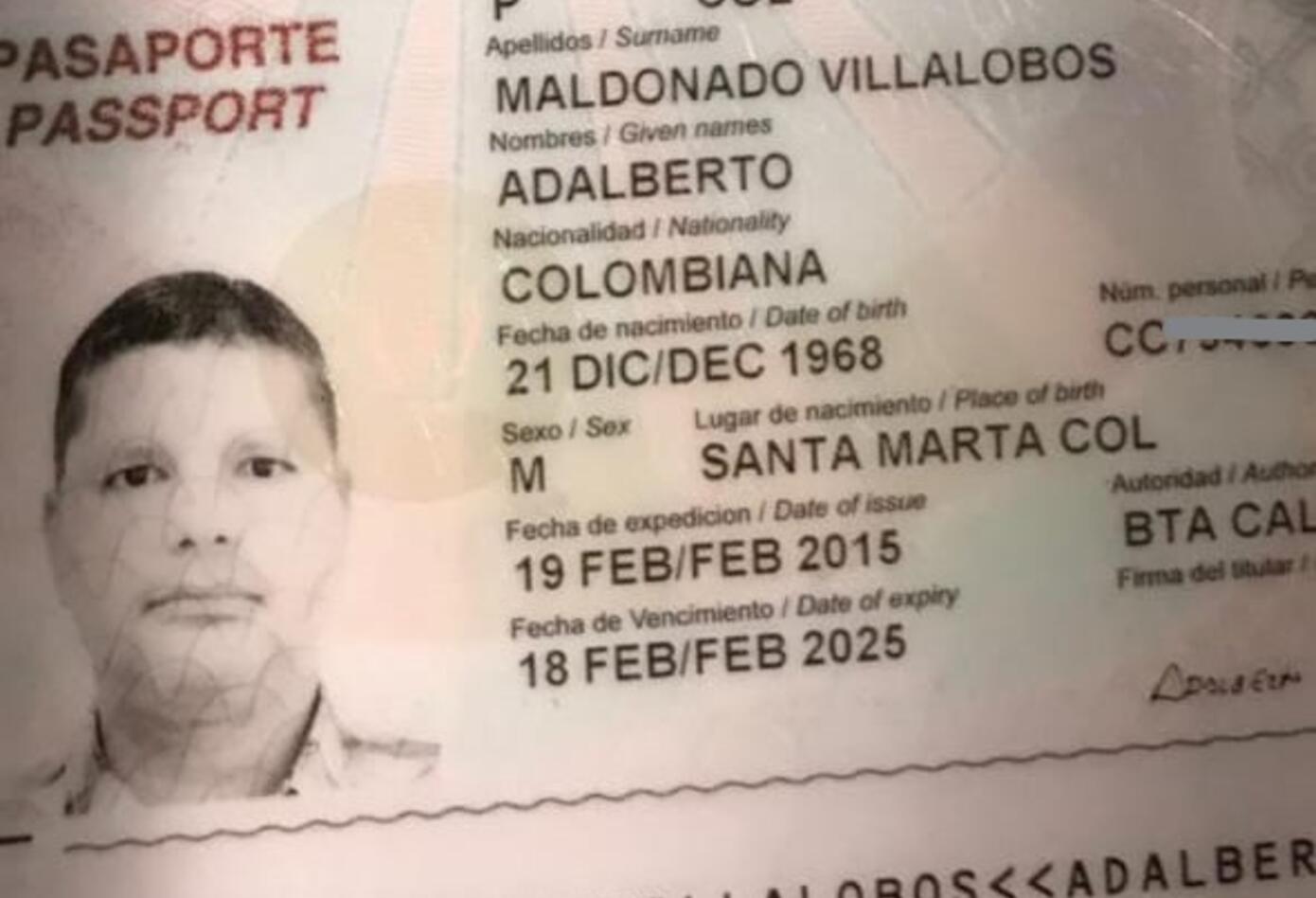 Pasaporte del colombiano detenido en aeropuerto de Barcelona