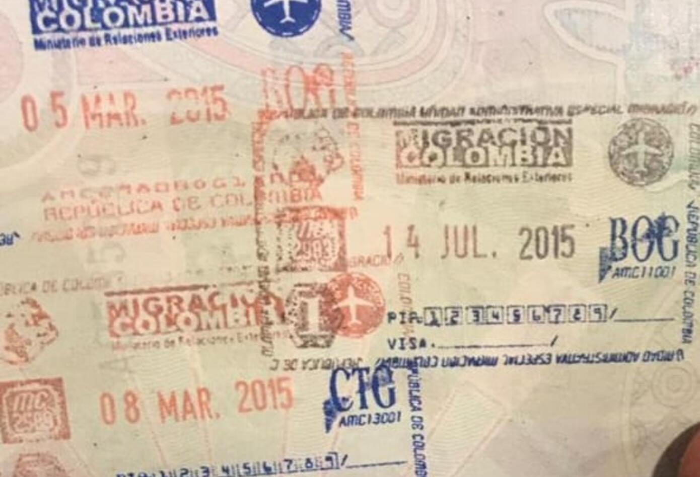 Pasaporte del Colombiano detenido en Barceona, con drogas