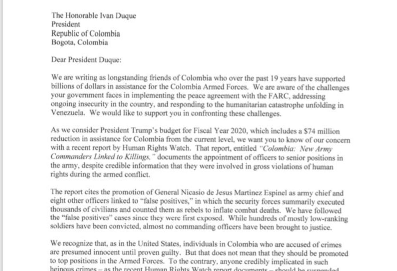 Carta de senadores de EEUU al presidente Duque por ascenso de militares