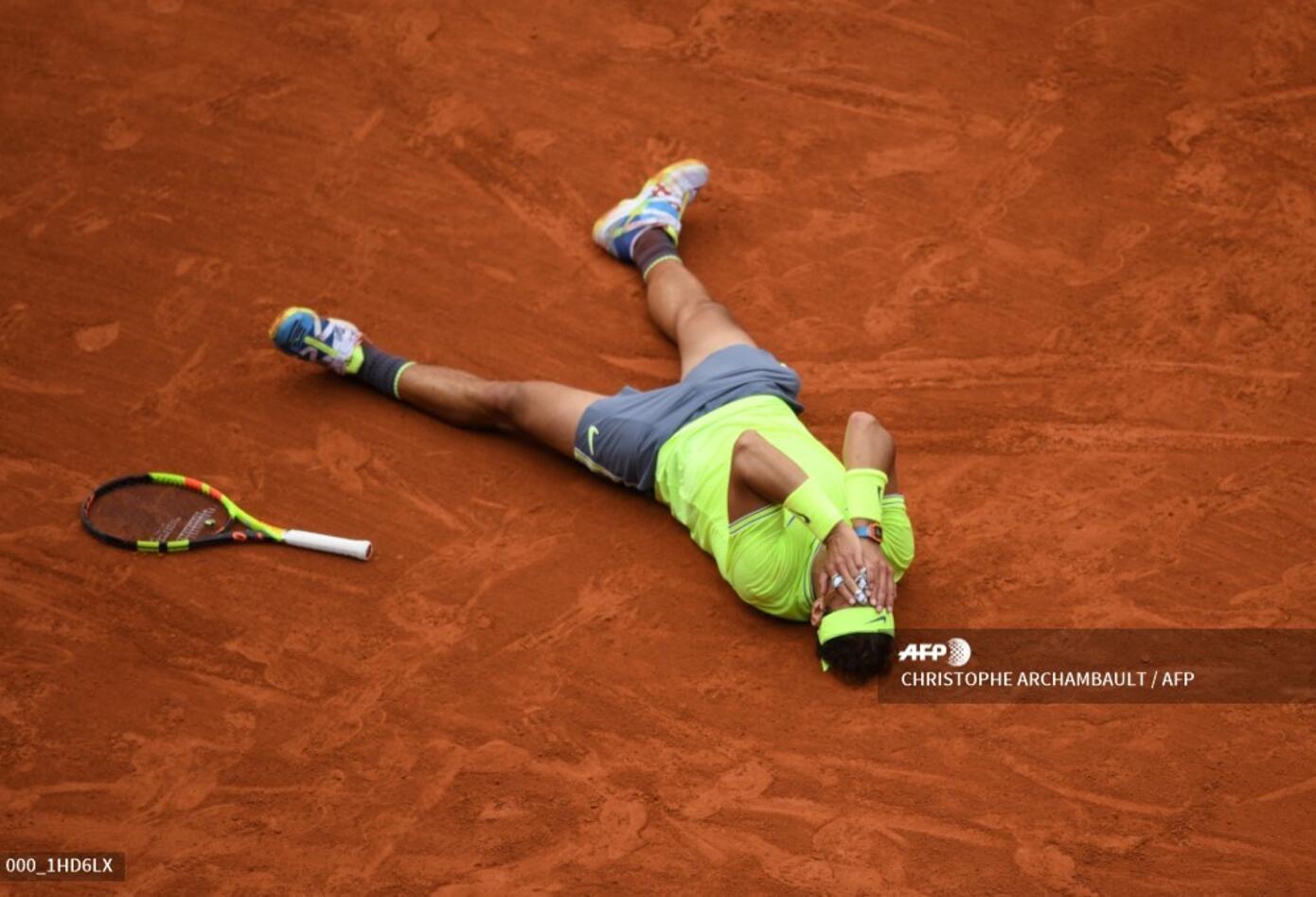 Celebración de Rafael Nadal tras ganar la edición 2019 de Roland Garros.