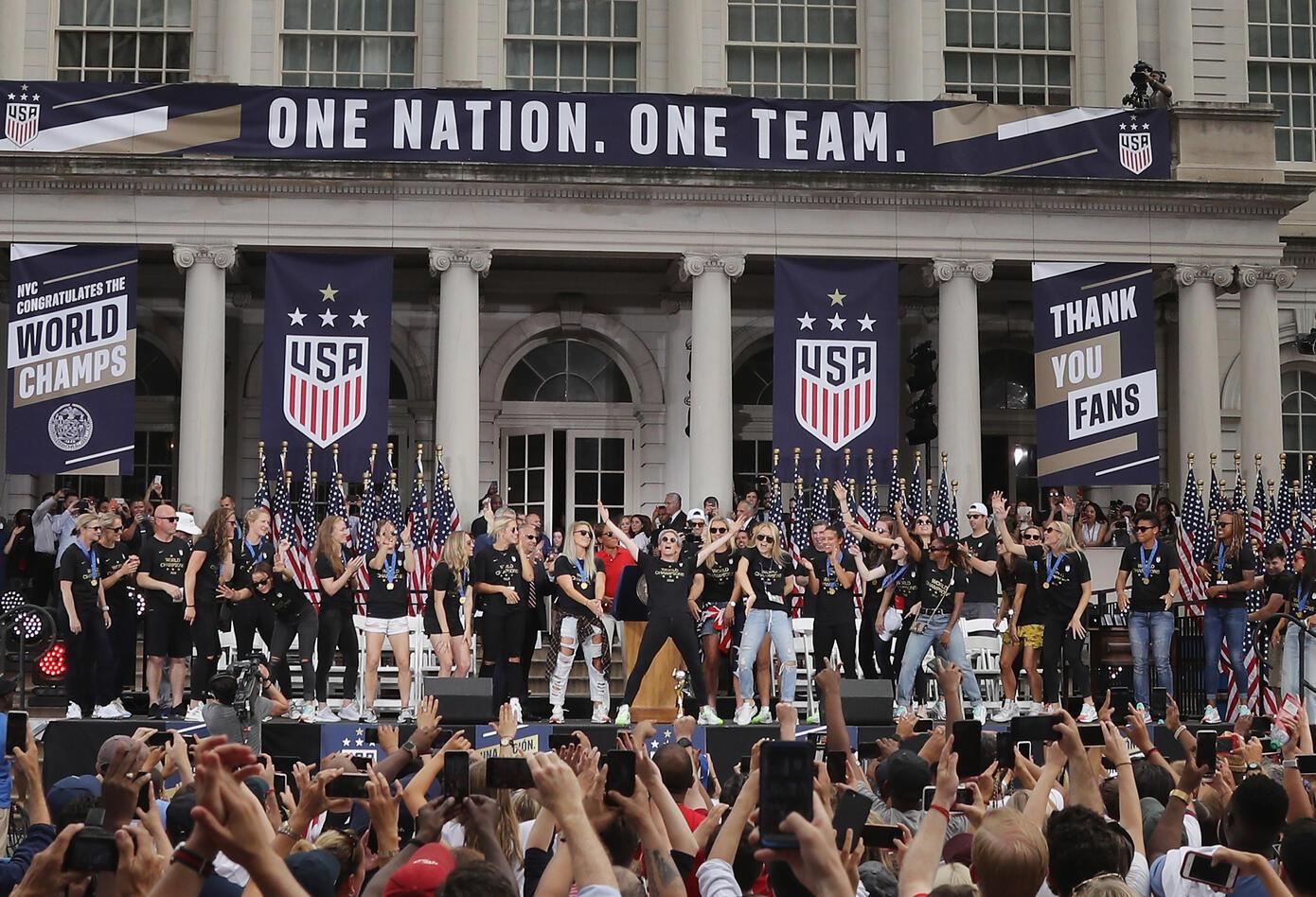 Celebración título mundial de EE.UU. Femenina