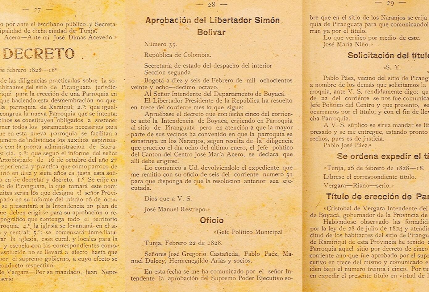 Acta de fundación Jenesano
