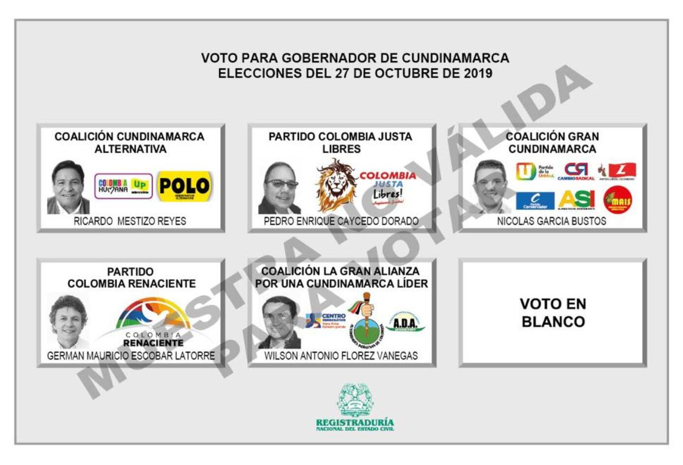 Tarjetón para elecciones de Goibernación de Cundinamarca 2019