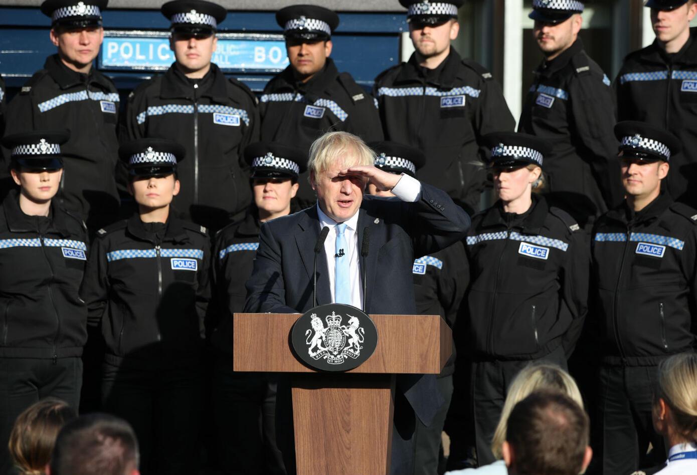 Boris Johnson en discursoen una academia de policía en Yorkshire