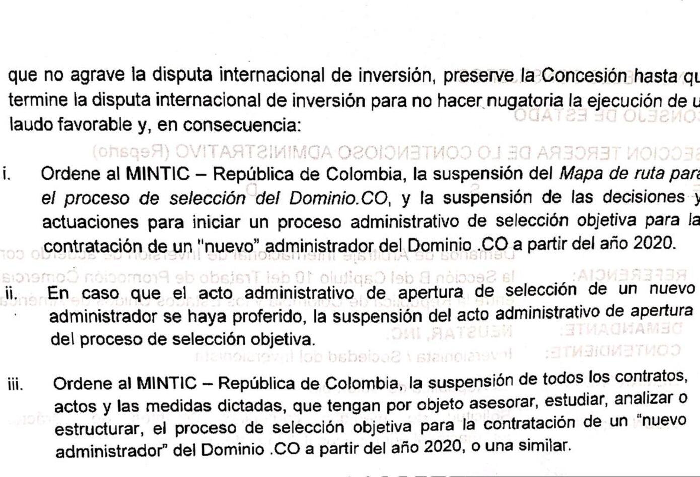 Consejo de Estado solicitud Medidas