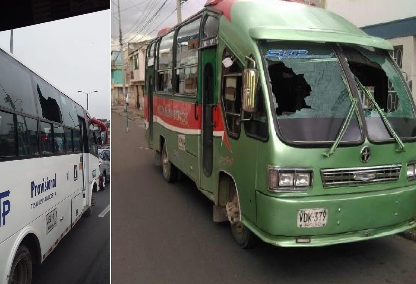Buses vandalizados durante jornada del transporte informal